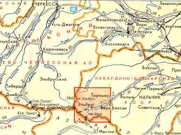 Карта района приэльбрусья.