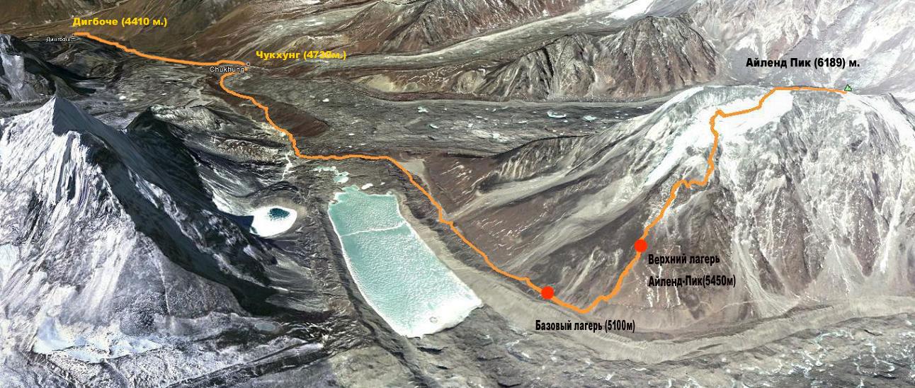 Схема маршрута восхождения на